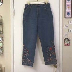 Chico's Design Jeans with Floral Embroidery